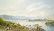 Lake Squam and the Sandwich Mountains painting reproduction, William Trost Richards