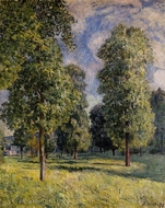Landscape at Sevres painting reproduction, Alfred Sisley