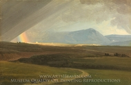 Landscape near Rome during a Storm painting reproduction, Simon Denis
