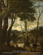 Landscape with a Cowherd by Gaspard Dughet