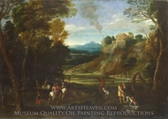 Landscape with a Hunting Party painting reproduction, Giovanni Battista Viola