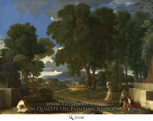 Nicolas Poussin Landscape with a Man Washing his Feet at a ...