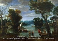 Landscape with a River and Boats painting reproduction, Giovanni Battista Viola