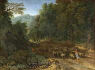 Landscape with a Shepherd and his Flock painting reproduction, Gaspard Dughet