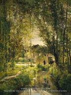 Landscape with a Sunlit Stream by Charles Daubigny