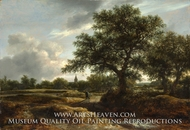 Landscape with a Village in the Distance painting reproduction, Jacob Van Ruisdael