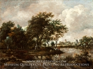 Landscape with Anglers and a Distant Town by Meindert Hobbema