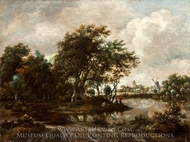 Landscape with Anglers and a Distant Town painting reproduction, Meindert Hobbema