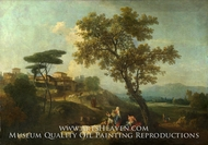 Landscape with Cattle and Figures painting reproduction, Francesco Zuccarelli