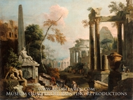 Landscape with Classical Ruins and Figures painting reproduction, Marco Ricci