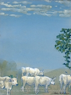 Landscape with Cows painting reproduction, Arthur Bowen Davies