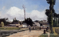 Landscape with Factory painting reproduction, Camille Pissarro