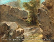 Landscape with Rocks, Augerville painting reproduction, Eugene Delacroix