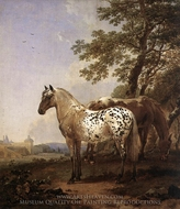 Landscape with Two Horses painting reproduction, Nicolaes Berchem