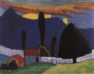 Landscape with White Wall painting reproduction, Gabriele Munter