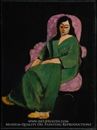 Laurette in a Green Robe, Black Background by Henri Matisse
