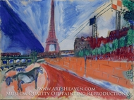 Le Pont de Passy et la Tour Eiffel by Marc Chagall (inspired by)