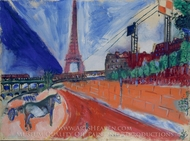 Le Pont de Passy et la Tour Eiffel painting reproduction, Marc Chagall (inspired by)
