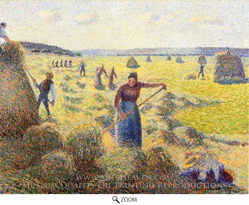 Painting Reproduction of Le Recolte des Foins a Eragny, Camille Pissarro
