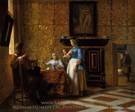 Leisure Time in an Elegant Setting painting reproduction, Pieter De Hooch