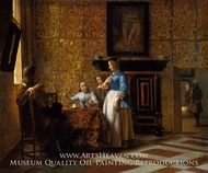 Leisure Time in an Elegant Setting by Pieter De Hooch