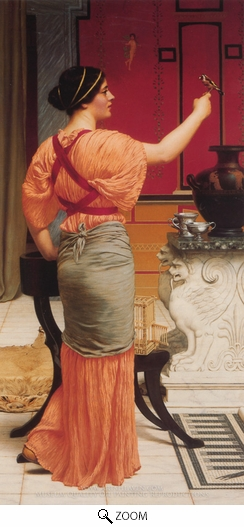 Painting Reproduction of Lesbia with her Sparrow, John William Godward