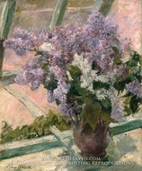 Lilacs in a Window by Mary Cassatt