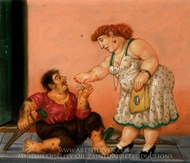 Limosna painting reproduction, Fernando Botero