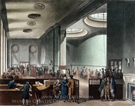 Lloyd's Subscription Room painting reproduction, Thomas Rowlandson