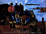 Lobster Fishermen painting reproduction, Marsden Hartley