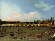 London: Westminster Bridge from the North on Lord Mayor's Day painting reproduction, Canaletto