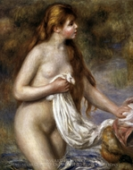 Long-Haired Bather painting reproduction, Pierre-Auguste Renoir