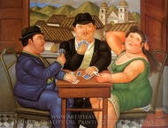 Los Jugadores de Cartas painting reproduction, Fernando Botero