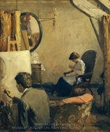 Louis Kronberg in His Studio in Copley Hall painting reproduction, Arthur Clifton Goodwin