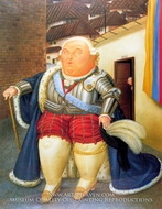 Louis XVI on a Visit to Medellin, Colombia painting reproduction, Fernando Botero