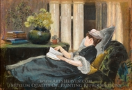 Louise Tiffany, Reading painting reproduction, Louis Comfort Tiffany