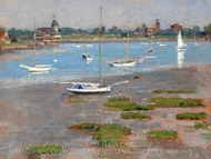Low Tide, Riverside Yacht Club painting reproduction, Theodore Robinson