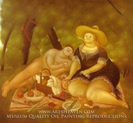 Luncheon on the Grass painting reproduction, Fernando Botero