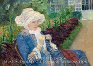 Lydia Crocheting in the Garden at Marly painting reproduction, Mary Cassatt