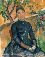 Madame Cezanne (Hortense Fiquet) in the Conservatory painting reproduction, Paul Cezanne