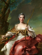 Madame de Maison-Rouge as Diana painting reproduction, Jean Marc Nattier