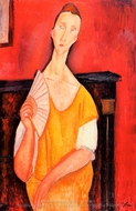Madame Lunia Czechowska with a Fan painting reproduction, Amedeo Modigliani