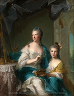 Madame Marsollier and Her Daughter painting reproduction, Jean Marc Nattier