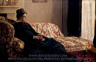 Madame Monet on a Couch painting reproduction, Claude Monet