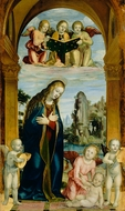 Madonna Adoring the Child with Musical Angels painting reproduction, Bernardino Zenale