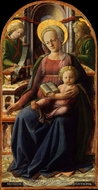 Madonna and Child Enthroned with Two Angels painting reproduction, Filippino Lippi