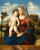 Madonna and Child in a Landscape painting reproduction, Cima Da Conegliano