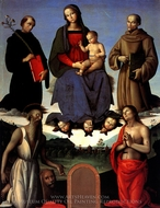 Madonna and Child with Four Saints painting reproduction, Pietro Perugino