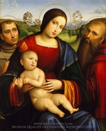 Madonna and Child with Saints Francis and Jerome painting reproduction, Francesco Francia
