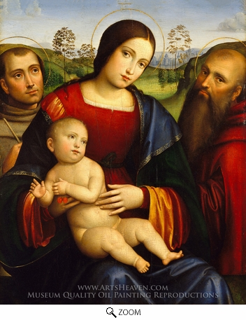 Painting Reproduction of Madonna and Child with Saints Francis and Jerome, Francesco Francia